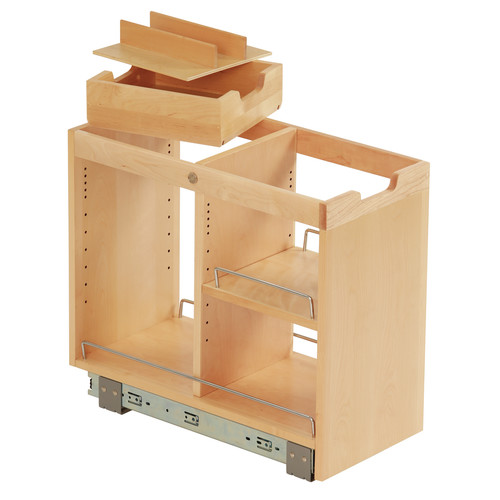 Ornamental Mouldings FindIT Kitchen Storage Organization Base Cabinet  Pullout With Slide, Half Cutlery Tray And