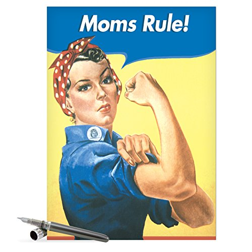 "J0096 Jumbo Funny Mother's Day Card: 'moms rule' with Envelope (Jumbo Size: 8.5"" x 11"")"