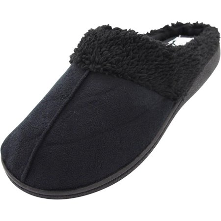 Norty Womens Slip-On Memory Foam Clog Slippers Shoe - Faux Suede or Fleece, 40802 Black / Large