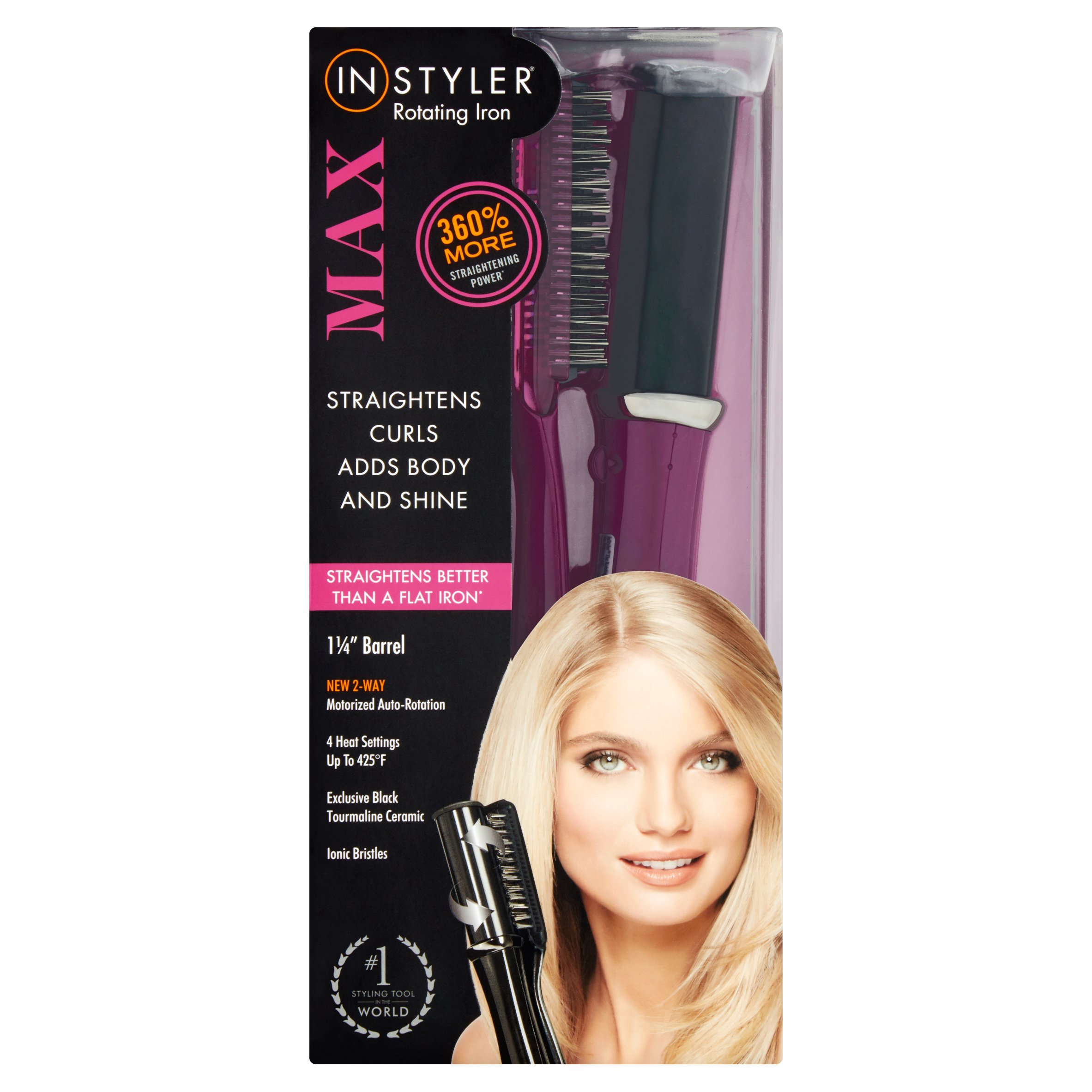 "InStyler Max 1.25"" Rotating Iron Hair Styler, Purple"