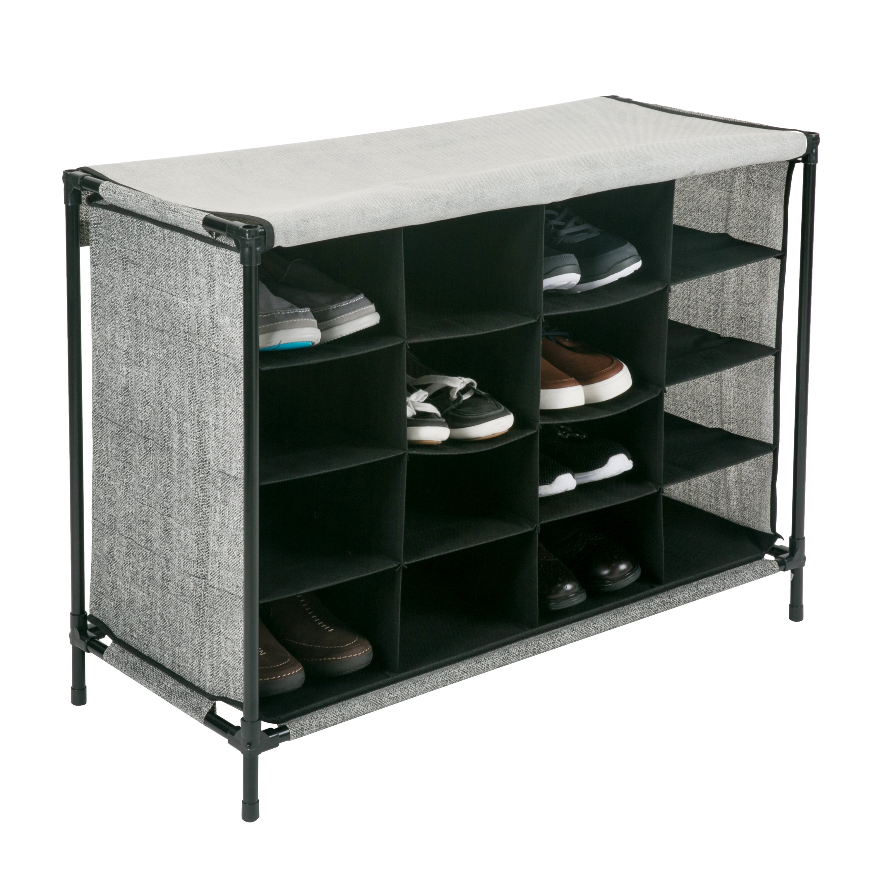 16 Compartment Shoe Cubby Organizer W/Cover - Black