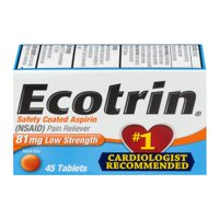 Ecotrin Low Strength Safety Coated Aspirin, NSAID, 81mg, 45 Tablets