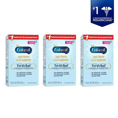 (3 Pack) Enfamil Tri-Vi-Sol Liquid Vitamins A, C, and D Infant Supplement, 1.67 fl oz (50