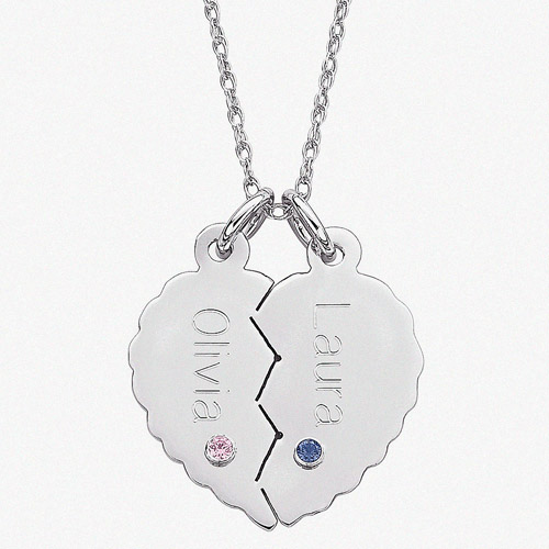 """Personalized Sterling Silver Break Apart Name and Birthstone Heart Pendant, 20"""""""