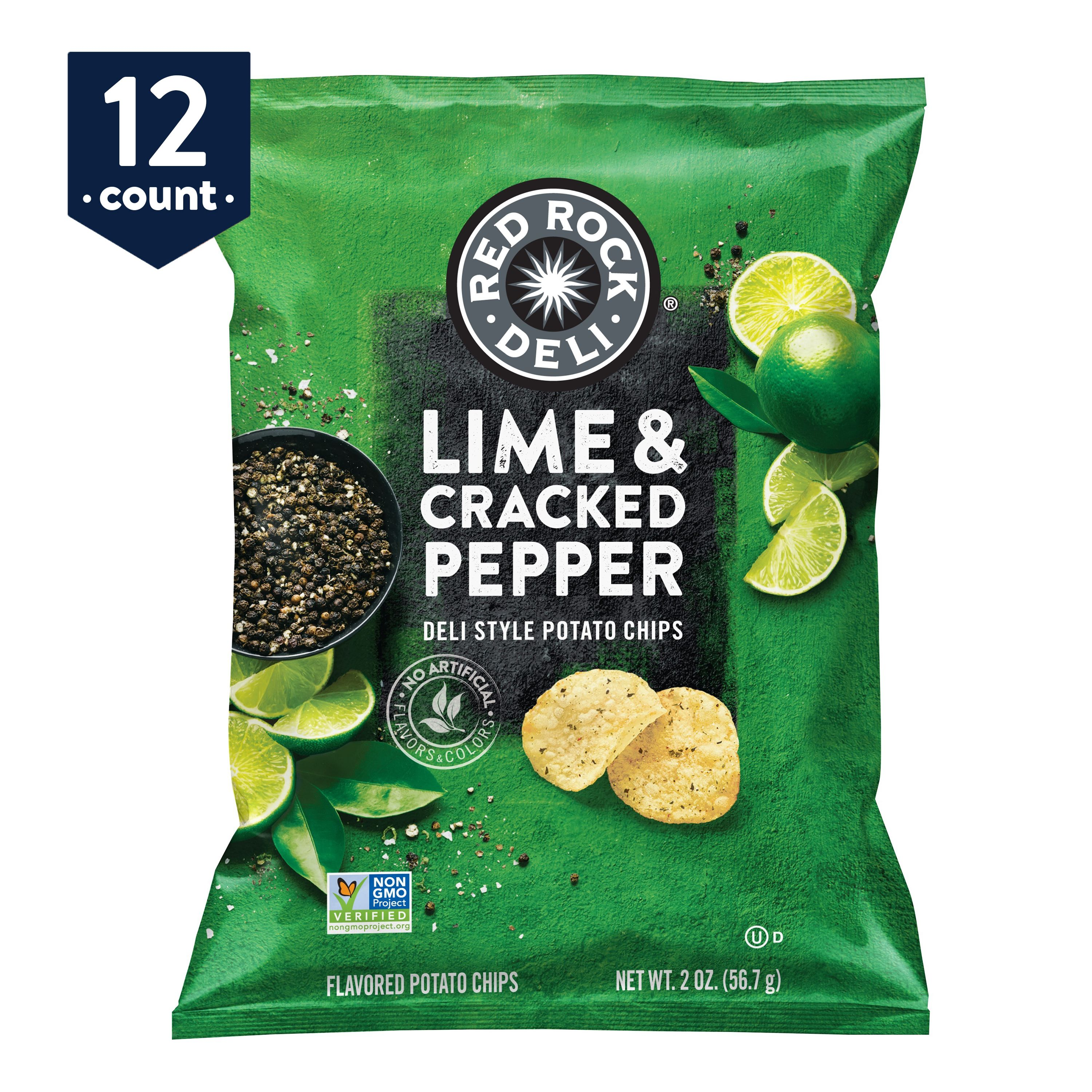 Red Rock Deli Lime & Cracked Pepper Flavored Deli Style Potato Chips Snack Pack, 2 oz Bags, 12 count