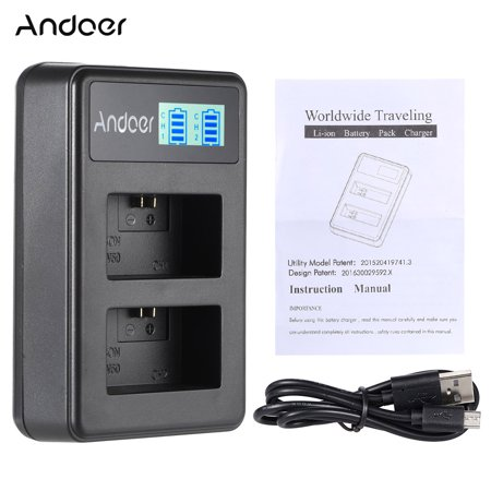 Andoer NP-FW50 Rechargeable LED Display Li-ion Battery Charger Pack 2-Slot USB Cable Kit for Digital SLRC