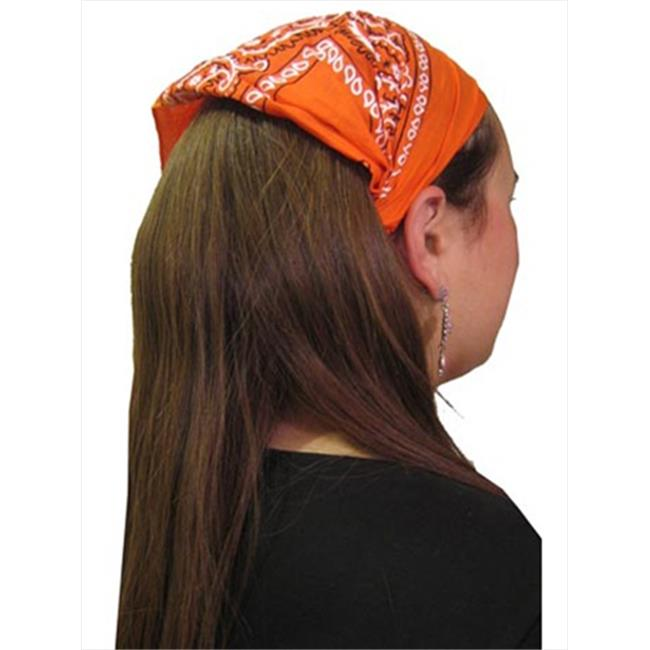 CoverYourHair 20424 Orange Cotton Paisley Wide Pre Tied Headband