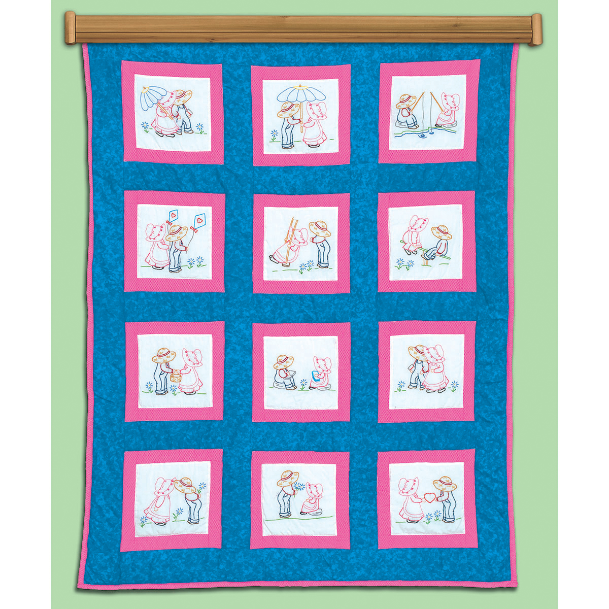 """Themed Stamped White Quilt Blocks, 9"""" x 9"""", 12pk, Sunbonnet Sue and Sam"""