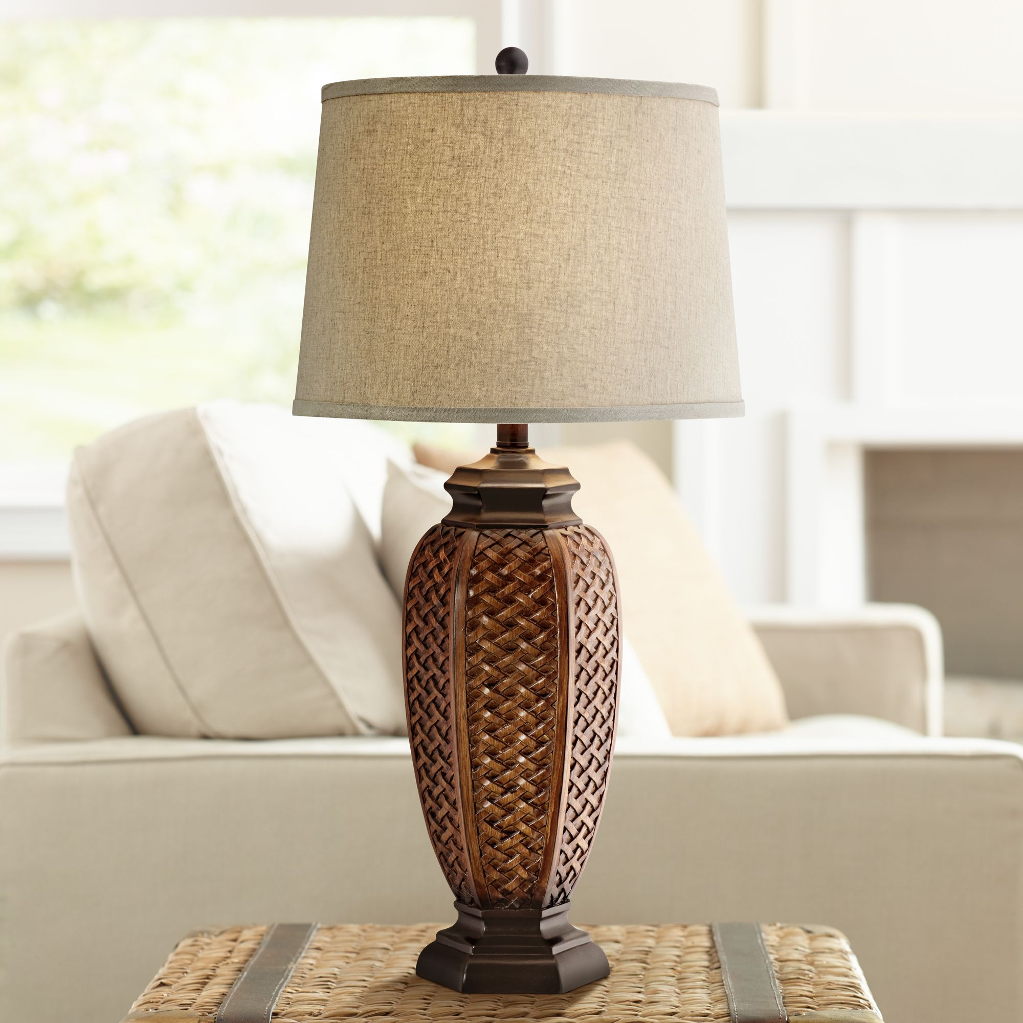Regency Hill Tropical Table Lamp Woven Wicker Pattern Beige Linen Drum Shade for Living Room Family Bedroom Bedside Nightstand