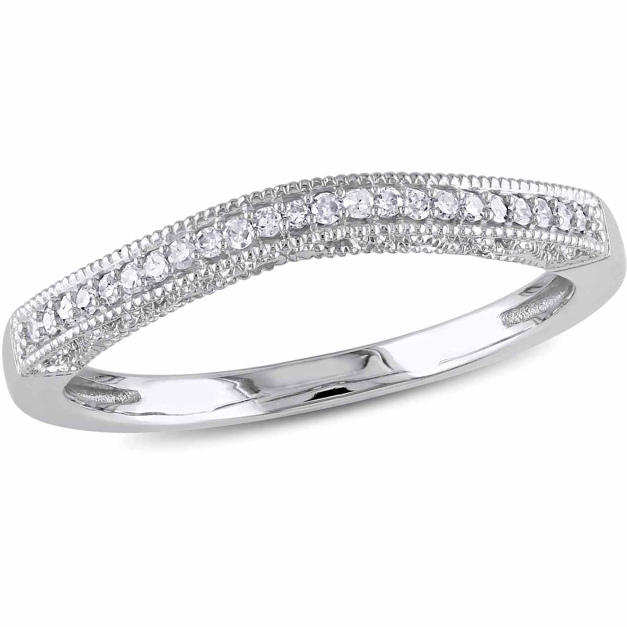 Miabella Diamond-Accent 10kt White Gold Wedding Band by Delmar Manufacturing LLC