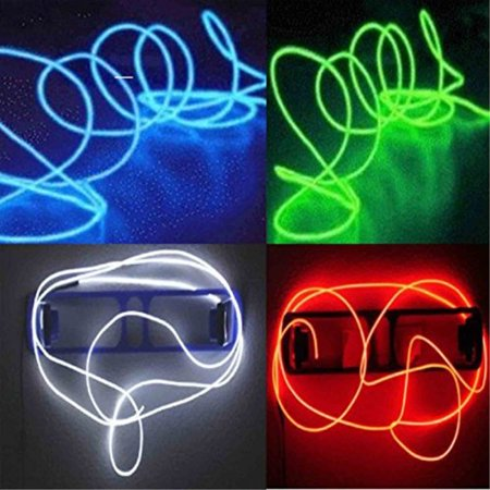 4 Pack - TDLTEK Neon Glowing Strobing Electroluminescent Wire /El Wire(Blue, Green, Red, White) + 3 Modes Battery Controllers (Neon Glowing Strobing Electroluminescent Wire)