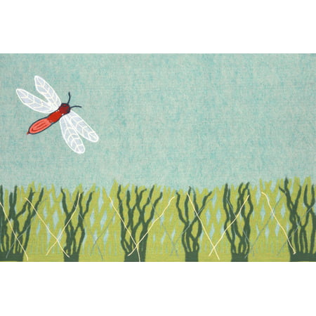 """Liora Manne Visions IV Dragonfly Indoor/Outdoor Mat Blue 20""""X29.5"""""""