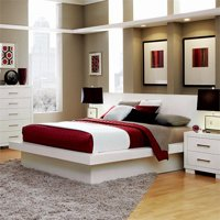 Bowery Hill King Platform Bed with Rail Seating and Lights in White