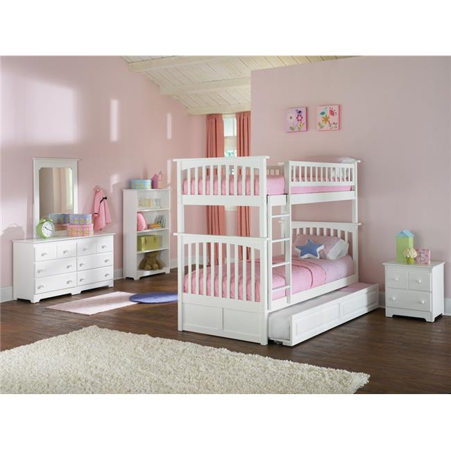 Columbia Bunkbed with Urban Trundle Bed - White, Twin Over Twin Size