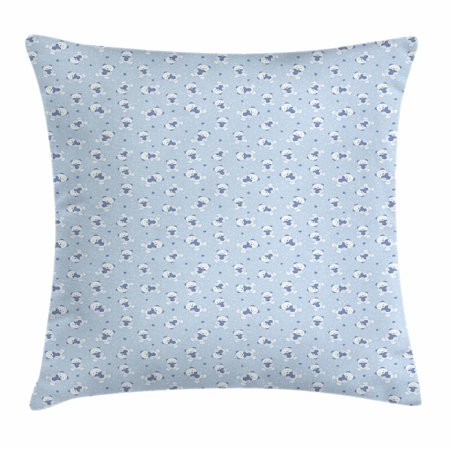 Baby Throw Pillow Cushion Cover, Teddy Bears Hearts Love Themed Illustration Cartoon Toy Pattern Dotted Background, Decorative Square Accent Pillow Case, 16 X 16 Inches, Baby Blue White, by Ambesonne
