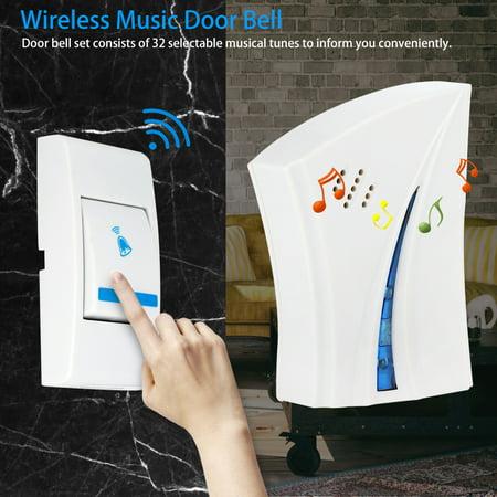 WALFRONT Sonnette de musique sans fil comprend un récepteur et un émetteur pour la sécurité du domicile, une sonnette de musique sans fil, une sonnette domestique - image 4 de 7