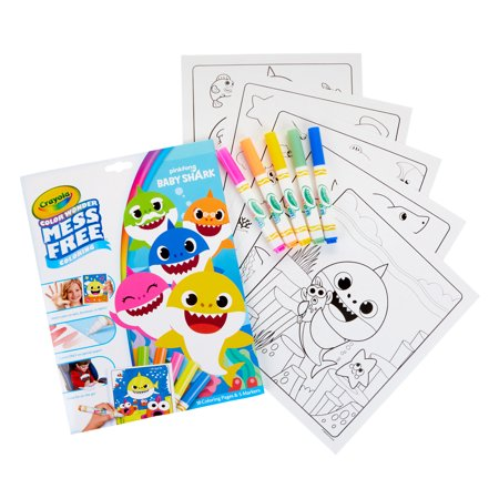 Color Wonder Mess Free Baby Shark Coloring Set, 18 Pages, Beginner Child Ages 3+