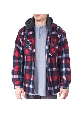 Mens Flannel Big And Tall Jackets For Men Zip Up Hoodie Sherpa Lined Jacket Shirt - XL - Navy Red