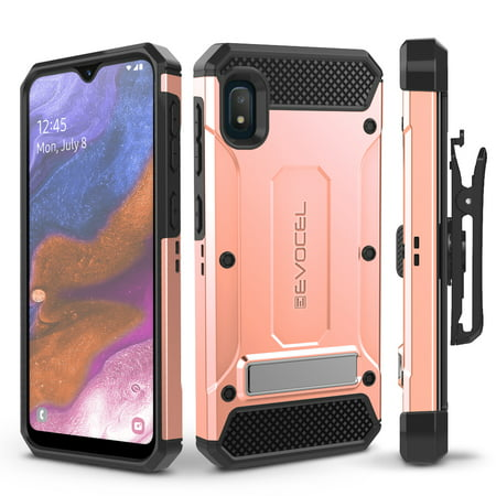 Galaxy A10E Case, Evocel [Glass Screen Protector] [Belt Clip Holster] [Metal Kickstand] [Full Body] Explorer Series Pro Phone Case for Samsung Galaxy A10E, Rose Gold
