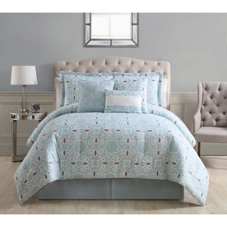11 Piece Lonnie Spa/White Bed in a Bag Set King (Bed In A Bag Blue And White)