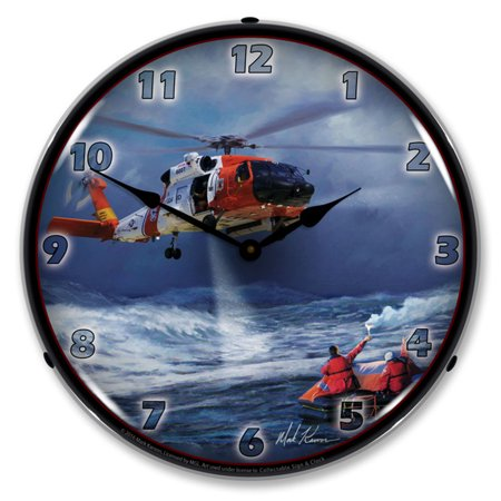 60 Lcd Wall - Jayhawk HH 60 Kodiak Helicopter LED Wall Clock, Retro/Vintage, Lighted, 14 inch