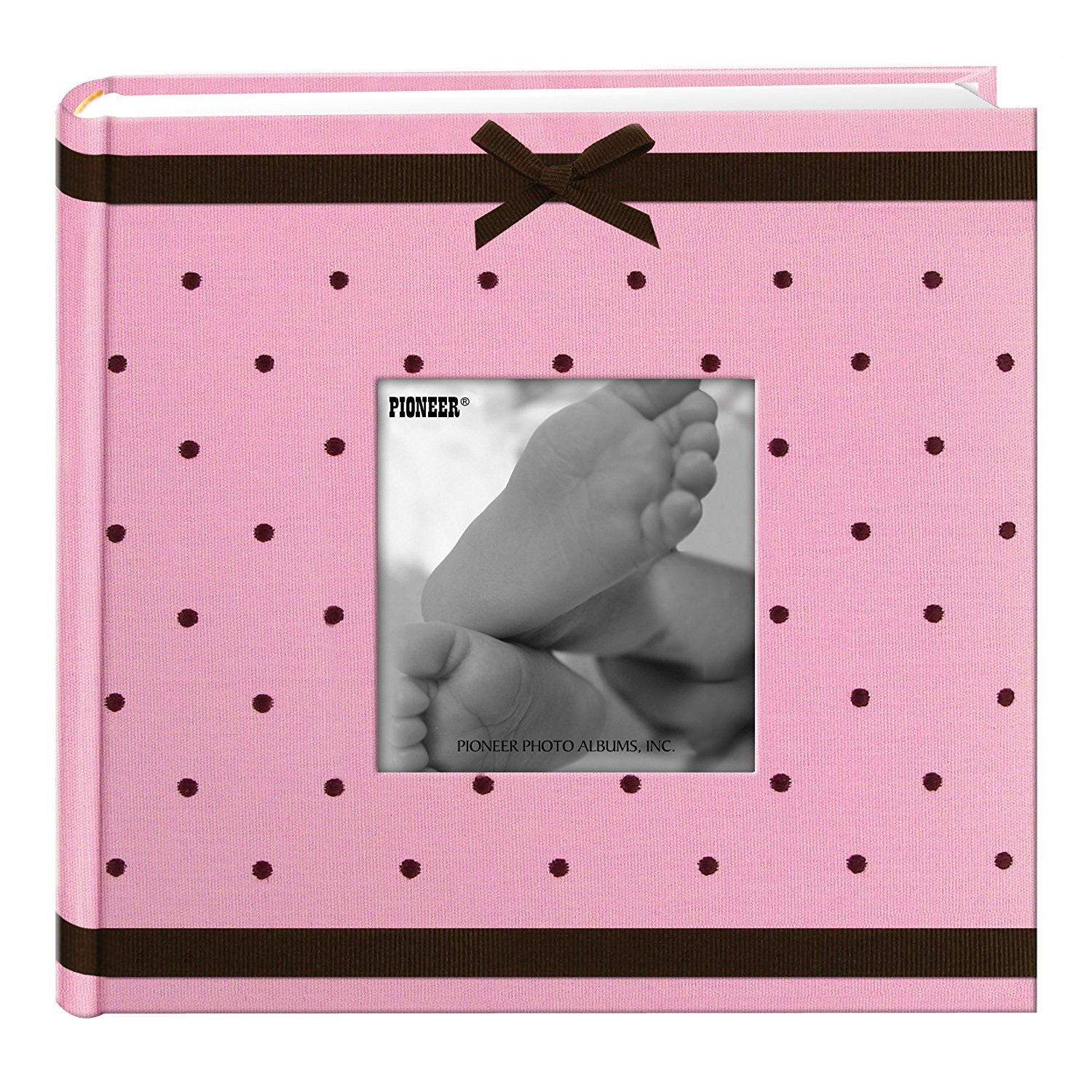 Pioneer Embroidered 200 Pocket Frame Fabric Cover Photo Album, Baby Pink