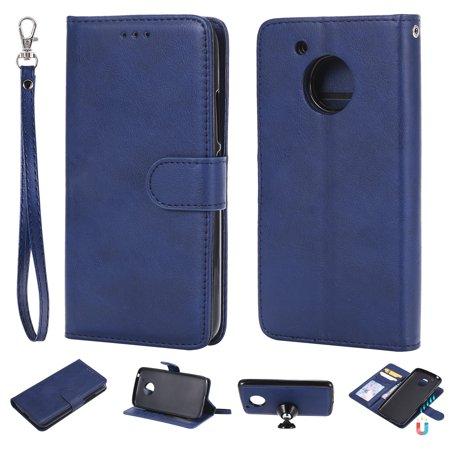 Moto G5 Case, Motorola G5 2017 Case, Allytech Premium PU Leather Flip Case Cover & Card Slots Pocket, Wrist Design Detachable Slim Case for Motorola G5 5 Inch (2017 Released) (Blue)