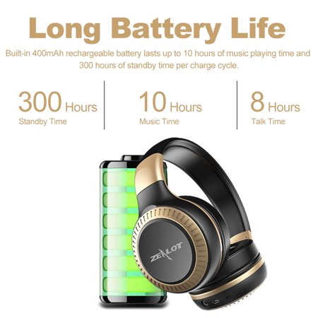 ZEALOT B20 Headphone Wireless Stereo Earphone Foldable Over Ear Headset 3.5mm AUX In Hands-free w/ Microphone - image 2 of 7