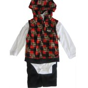 Baby Boys White Red Printed Hooded Vest Bodysuit 3 Pc Pants Set 0-9M