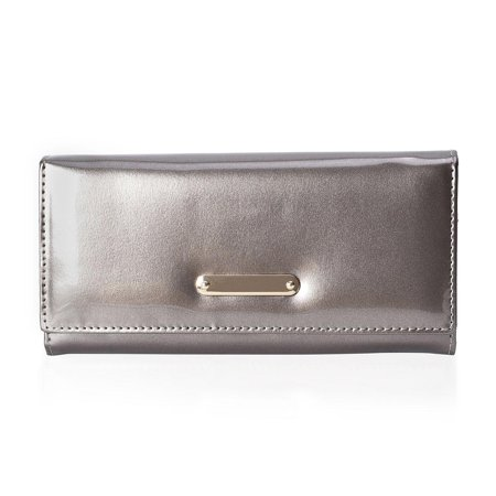Silver Patent Faux Leather Wallet Fashion Clutch Bag Handbag for Women Ladies Mothers Day Gifts