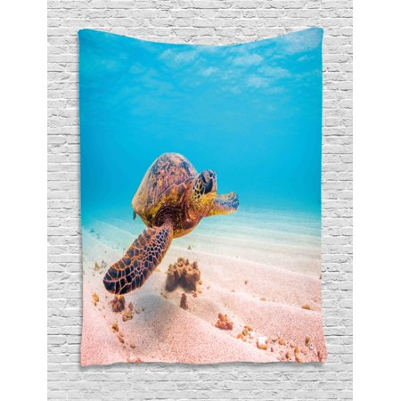 Turtle Tapestry, Hawaiian Green Sea Turtle Cruises in Warm Waters of the Pacific Ocean Photo, Wall Hanging for Bedroom Living Room Dorm Decor, 40W X 60L Inches, Aqua Cinnamon Brown, by
