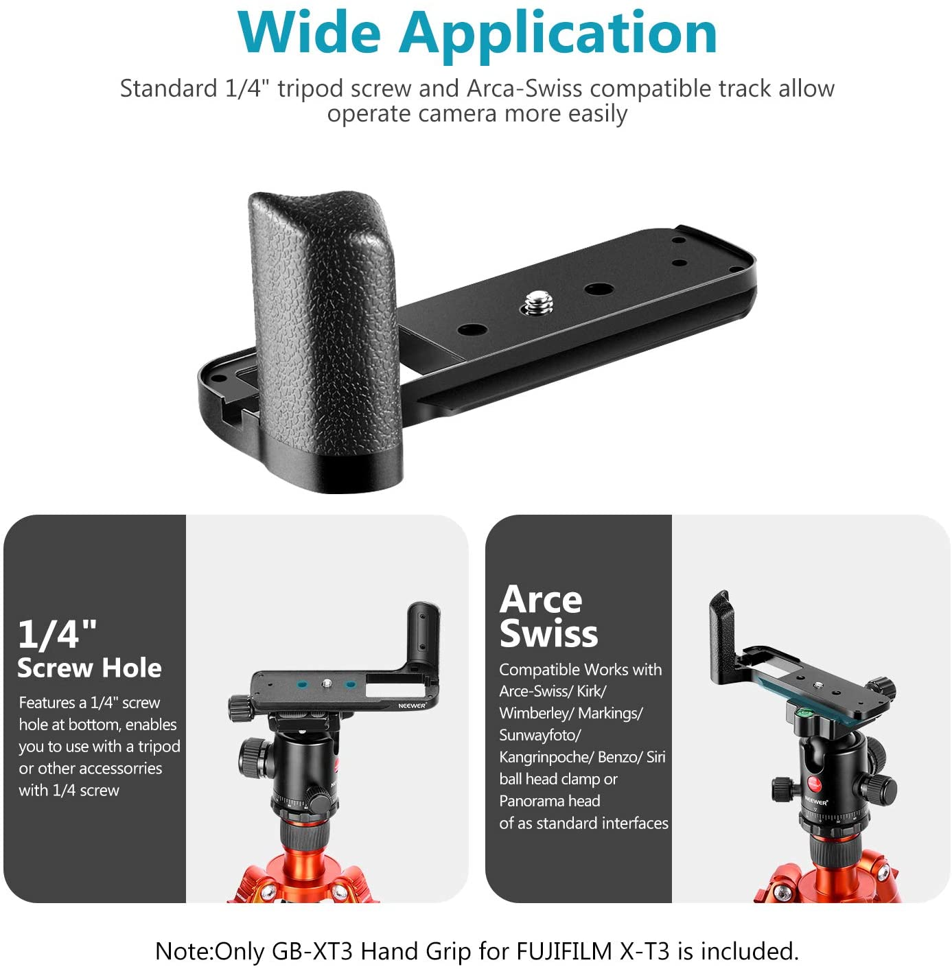 Neewer Replacement for GB-XT3 QR Plate L Bracket MHG-XT3 Replacement for Fujifilm Mirrorless Camera X-T3 Aluminum Alloy Hand Grip