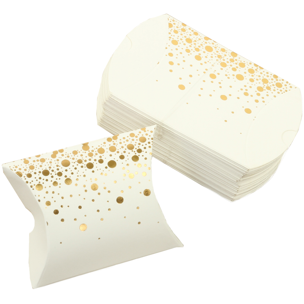 Andaz Press Pillow Favor Boxes, Shiny Foil Polka Dot in Bulk 50-Pack Count, Party Favor Candy Gift Boxes for Wedding