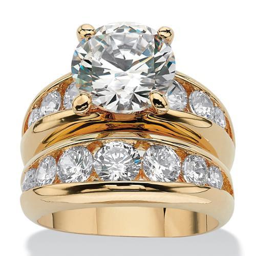 6.09 TCW Round Cubic Zirconia 14k Yellow Gold-Plated Bridal Engagement Ring Wedding Band Set - Size 9