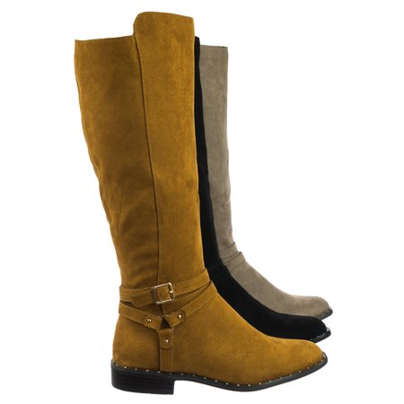 Preppy05 by Bamboo, Biker Motorcycle Riding Boots w Faux Fur Lining & Micro Metal Stud Welt