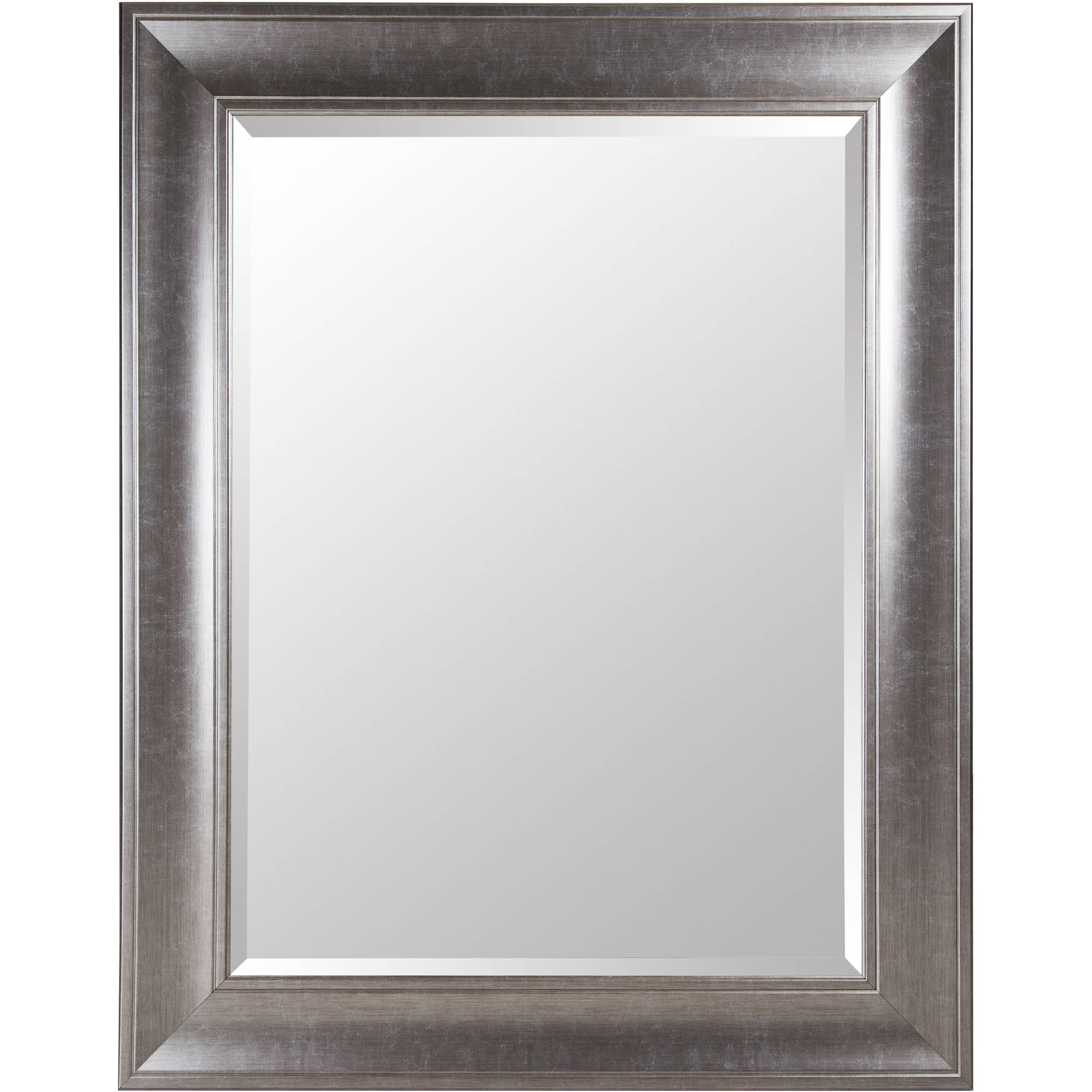 Gallery Solutions Large 39X49 Beveled Wall Mirror with Brushed Nickel Frame by Pinnacle Frames and Accents