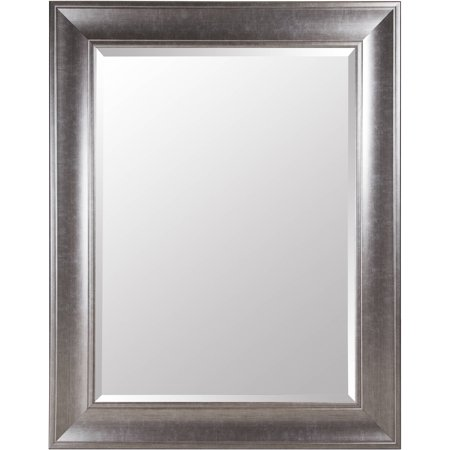 Gallery Solutions Large 39X49 Beveled Wall Mirror with Brushed ...