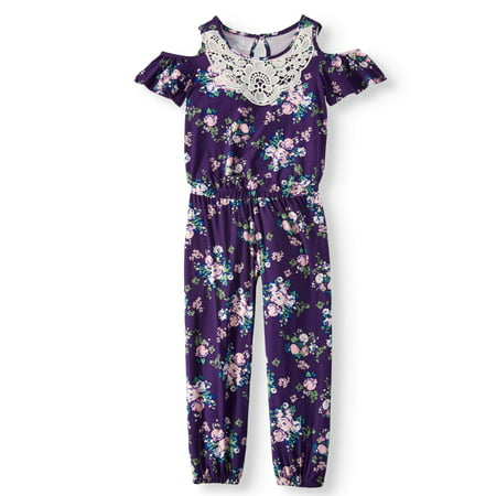 Girls Jumper Jumpsuit (Lace Trim Floral Jersey Jumpsuit (Little Girls & Big Girls) )