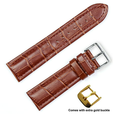 deBeer brand Breitling Style Matte Alligator Grain Watch Band (Silver & Gold Buckle) - Havana 16mm 16 Mm Width Band