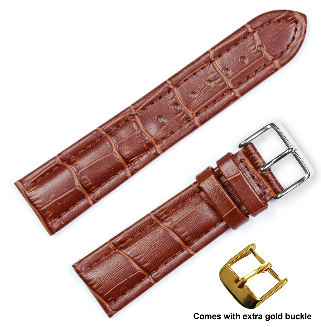 deBeer brand Breitling Style Matte Smooth Skin Watch Band (Silver & Gold Buckle) - Havana 22mm