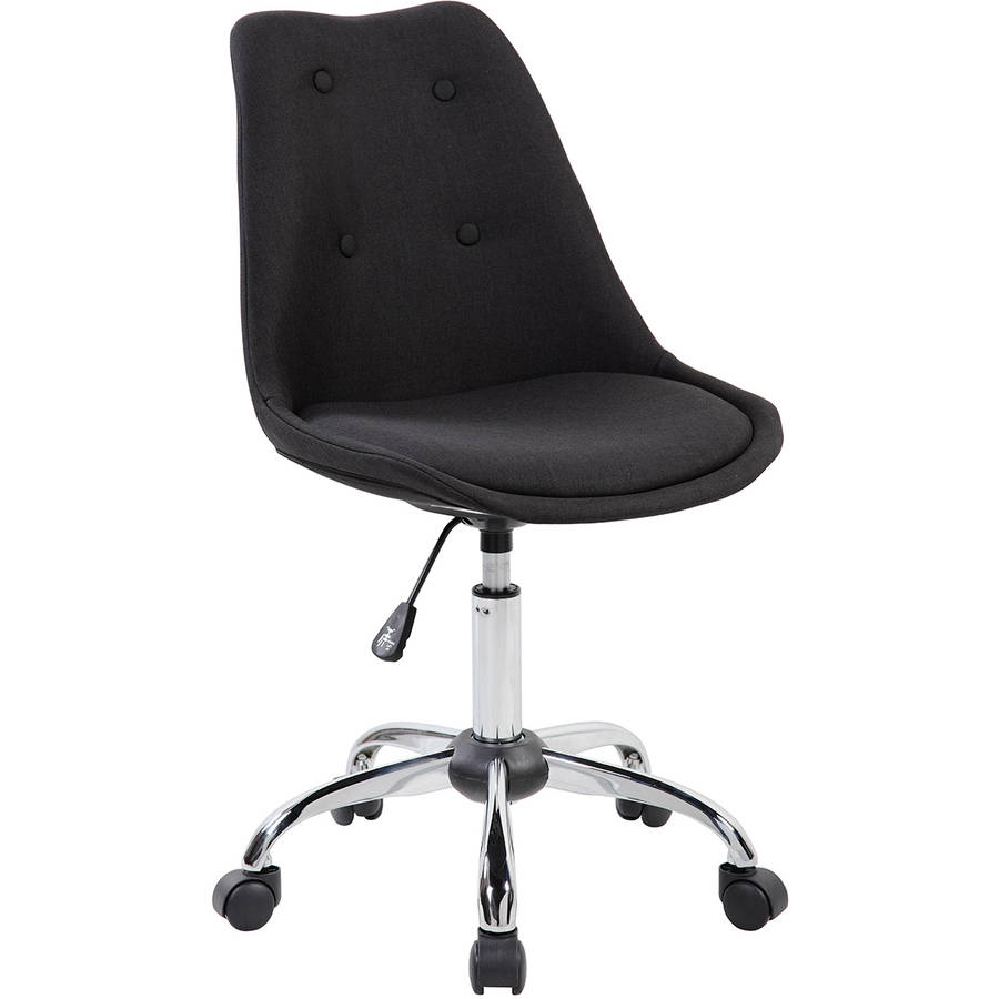 Techni Mobili Upholstered Armless Task Chair with Tufted Buttons, Black (RTA-K460-BK)