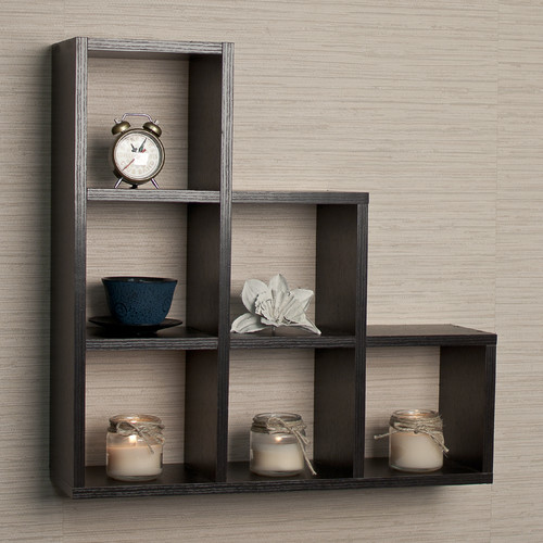 Brayden Studio Bermondsey Stepped 6 Cubby Decorative Wall Shelf