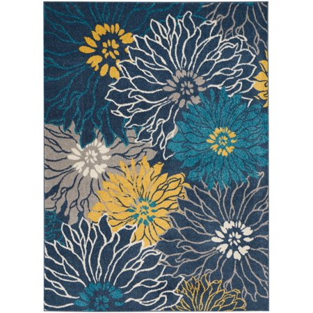 Nourison Passion Floral Floral Blue Area Rug - Nourison Machine Made Rugs