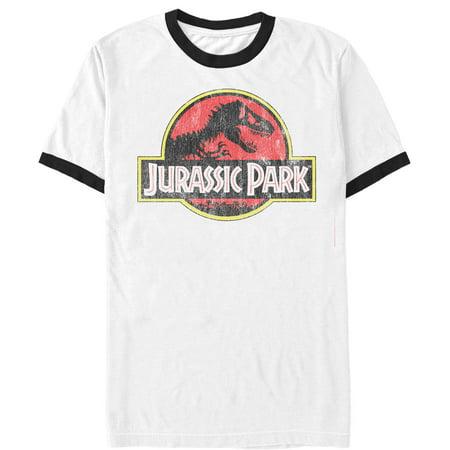 Jurassic Park Men's Retro T Rex Logo Ringer T-Shirt - Jurassic Park Fancy Dress