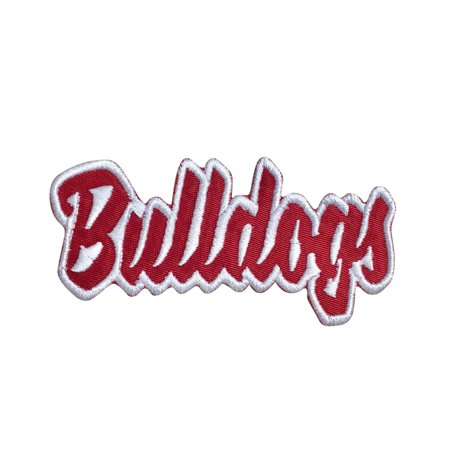 - Bulldogs - Red/White - Team Mascot - Words/Names - Iron on Applique/Embroidered Patch