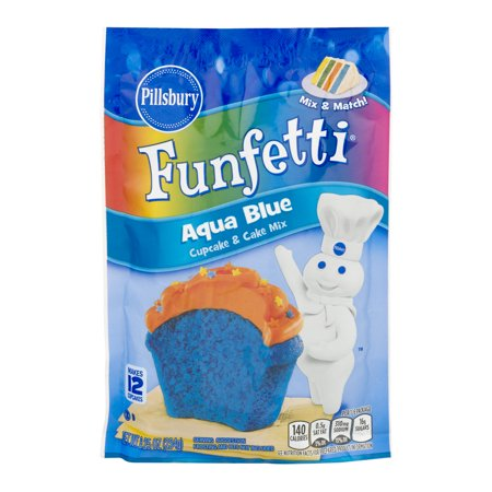 (3 Pack) Pillsbury Funfetti Aqua Blue Cupcake & Cake Mix, 8.25 - Royal Blue Cupcakes