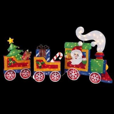 christmas decoration lawn garden yard tinsel lighted santa train 76 long - Lighted Train Christmas Decoration