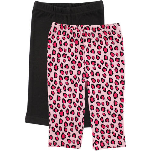 Luvable Friends Newborn Baby Girls 2-Pack Leggings