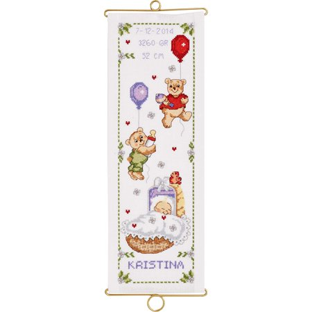 Bell Pull Cross Stitch Pattern (Permin® Happy Teddies Girl Birth Record Bell Pull Counted Cross-Stitch Kit )