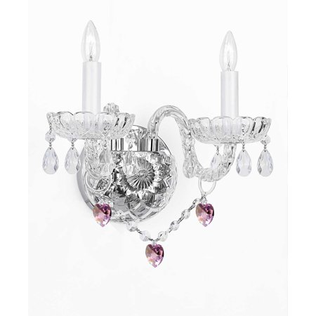 Eurofase Lighting Crystal Sconce - Murano Venetian Style Crystal Wall Sconce Lighting With Pink Hearts!